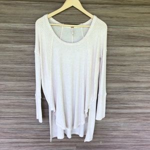 Free People oatmeal thermal tunic w/ side slits